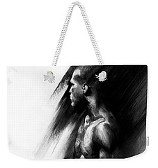 Weekender Tote Bag featuring the drawing Apart by Paul Davenport