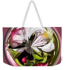Apple Blossom Globe Weekender Tote Bag by Phyllis Denton