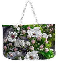 Weekender Tote Bag featuring the photograph Apple Blossoms In Oil by Nina Silver