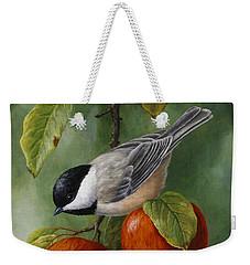 Apple Chickadee Greeting Card 3 Weekender Tote Bag