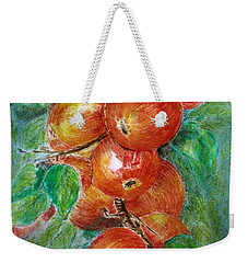 Weekender Tote Bag featuring the painting Apples by Jasna Dragun