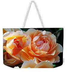 Apricot Dahlias Weekender Tote Bag by Kathy McClure