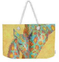 Aqua And Orange Giraffes Weekender Tote Bag by Jane Schnetlage