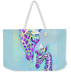 Aqua And Purple Loving Giraffes Weekender Tote Bag by Jane Schnetlage