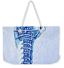 Weekender Tote Bag featuring the digital art Aqua Seahorse- Right Facing by Jane Schnetlage