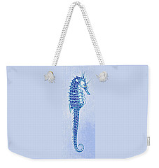 Aqua Seahorse- Right Facing Weekender Tote Bag by Jane Schnetlage