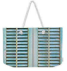Weekender Tote Bag featuring the painting Aqua Shutters by Asha Carolyn Young