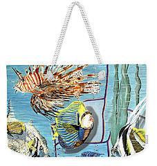 Weekender Tote Bag featuring the painting Aquarium by Daniel Janda
