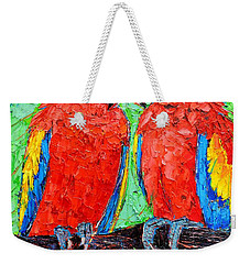 Ara Love A Moment Of Tenderness Between Two Scarlet Macaw Parrots Weekender Tote Bag by Ana Maria Edulescu