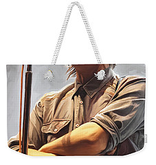 Weekender Tote Bag featuring the painting Arcade Fire Win Butler Artwork by Sheraz A