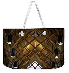 Arched Trusses - University Of Florida Chapel On Lake Alice Weekender Tote Bag by Lynn Palmer