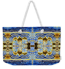 Weekender Tote Bag featuring the digital art Arches In Blue And Gold by Stephanie Grant