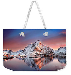 Arctic Dawn Over Reine Village Weekender Tote Bag by Janet Burdon