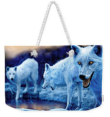Arctic White Wolves Weekender Tote Bag by Mal Bray