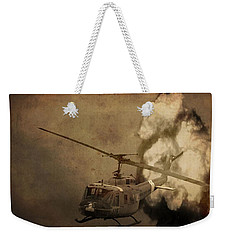 Army Helicopter Explosion Weekender Tote Bag by Dan Sproul