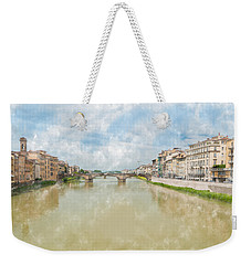 Arno River Florence Italy Weekender Tote Bag by James Hammond