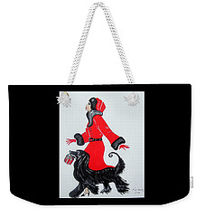 Art Deco  Girl With Red  Coat Weekender Tote Bag