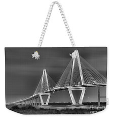 Arthur Ravenel Jr. Bridge In Black And White Weekender Tote Bag