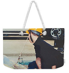 Weekender Tote Bag featuring the painting Artist At 16 Yrs Old by Donald J Ryker III