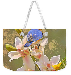 Bluebird On Orchids Artistic Photo Weekender Tote Bag