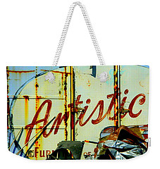 Weekender Tote Bag featuring the photograph Artistic Junk by Kathy Barney
