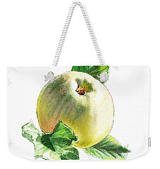 Weekender Tote Bag featuring the painting Artz Vitamins Series A Happy Green Apple by Irina Sztukowski