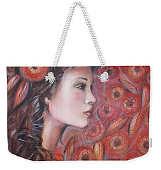 Weekender Tote Bag featuring the painting Asian Dream In Red Flowers 010809 by Selena Boron