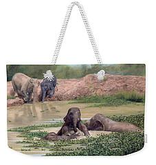 Asian Elephants - In Support Of Boon Lott's Elephant Sanctuary Weekender Tote Bag by Rachel Stribbling