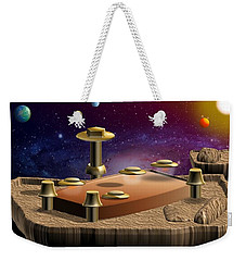 Weekender Tote Bag featuring the digital art Asteroid Terminal by Cyril Maza