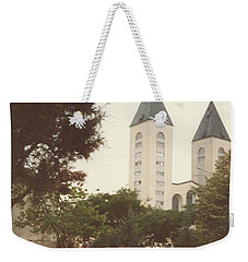 Weekender Tote Bag featuring the photograph At Church  6-1988 Quote by Christina Verdgeline