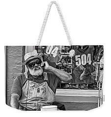 At His Office - Grandpa Elliott Small Bw Weekender Tote Bag
