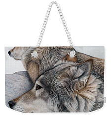 Weekender Tote Bag featuring the painting At Rest But Ever Vigilant by Pat Erickson