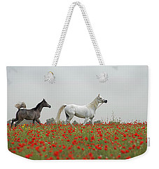 Weekender Tote Bag featuring the photograph At The Poppies' Field... 2 by Dubi Roman