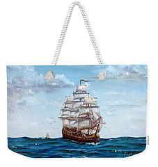 Weekender Tote Bag featuring the painting Atlantic Crossing  by Lee Piper