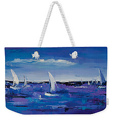 Weekender Tote Bag featuring the painting Au Gre Du Vent by Elise Palmigiani