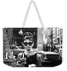 Audrey Hepburn Breakfast At Tiffany's Weekender Tote Bag by Georgia Fowler