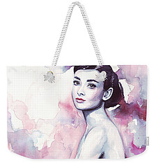 Audrey Hepburn Purple Watercolor Portrait Weekender Tote Bag by Olga Shvartsur