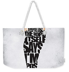 Audrey Hepburn Typography Poster Weekender Tote Bag by Ayse Deniz