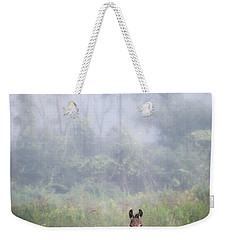 Weekender Tote Bag featuring the photograph August Morning - Donkey In The Field. by Gary Heller