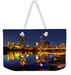 Weekender Tote Bag featuring the photograph Austin On The Rocks by Dave Files