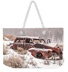 Auto In Snowstorm Weekender Tote Bag by Sue Smith