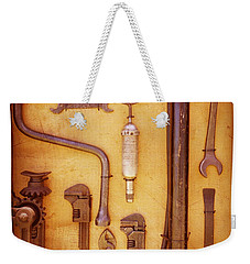 Weekender Tote Bag featuring the photograph Auto Mechanic Vintage Tools by Ann Powell