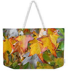 Weekender Tote Bag featuring the photograph Autumn Acer Leaves by Jocelyn Friis