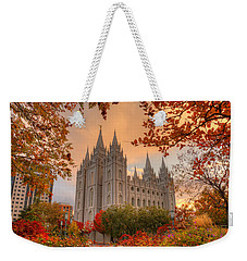 Autumn At Temple Square Weekender Tote Bag by Dustin  LeFevre