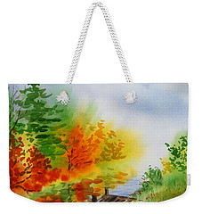 Weekender Tote Bag featuring the painting Autumn Burst Of Fall Impressionism by Irina Sztukowski