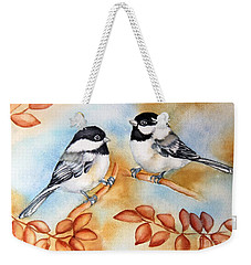 Autumn Chickadees Weekender Tote Bag by Inese Poga