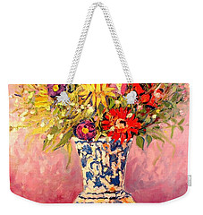 Weekender Tote Bag featuring the painting Autumn Flowers by Ana Maria Edulescu