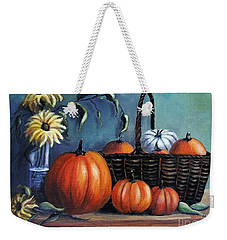 Weekender Tote Bag featuring the painting Autumn Gifts by Vesna Martinjak
