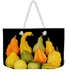 Weekender Tote Bag featuring the photograph Autumn Harvest Gourds by Jim Hughes