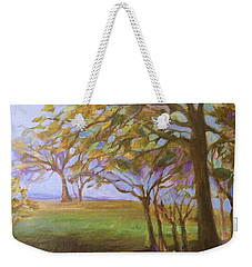 Weekender Tote Bag featuring the painting Autumn Leaves by Mary Wolf